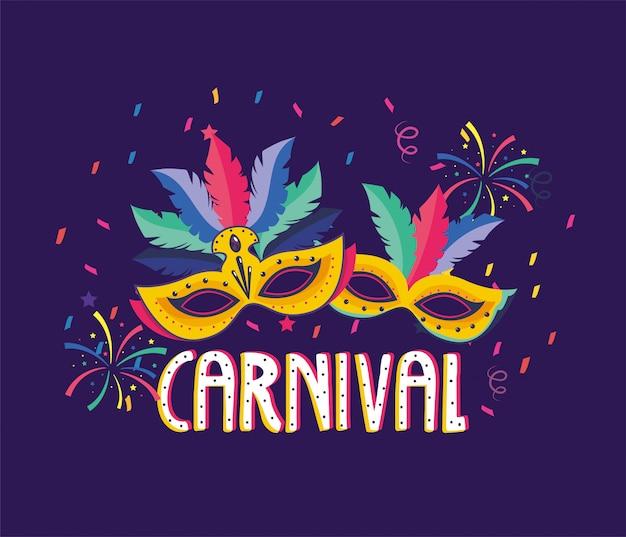 Masken mit federn und feuerwerk zur karnevalsparty Premium Vektoren