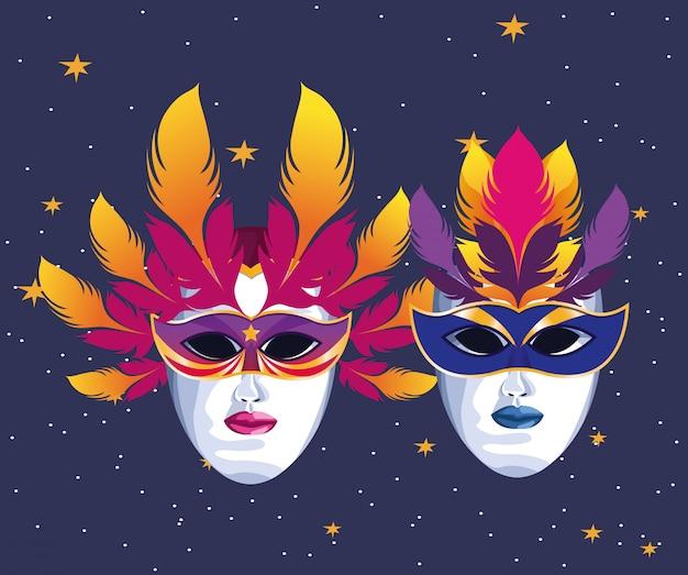 Masken mit federn Premium Vektoren
