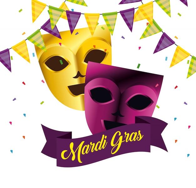Masken mit partydekoration für karneval Kostenlosen Vektoren