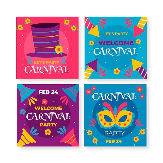Masken und feuerwerk karneval instagram beitragssammlung Kostenlosen Vektoren