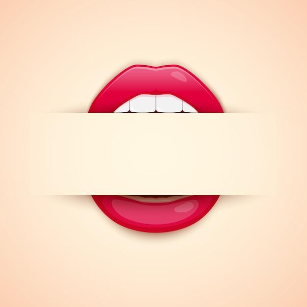 Maskenbildner-visitenkarte. schablone mit den roten lippen drucken und leerstelle fot text Premium Vektoren