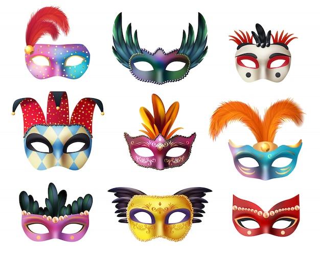 Maskerade-karneval-gesichtsmasken-realistischer satz Kostenlosen Vektoren