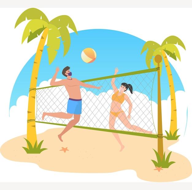 Maskierter mann und frau spielen zusammen volleyball am strand während der feiertagsillustration Premium Vektoren