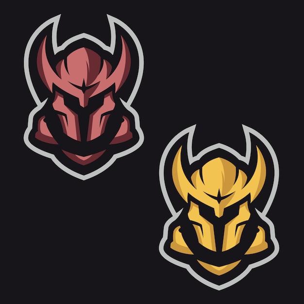 Maskiertes ritter-maskottchen-logo Premium Vektoren