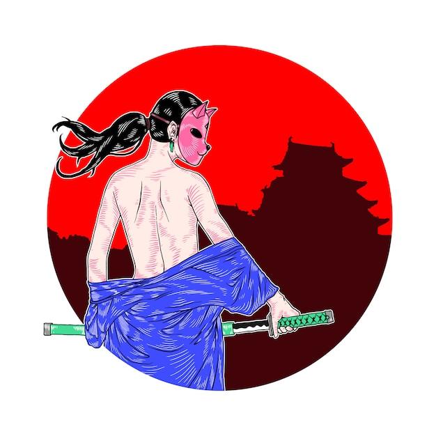 Maskiertes samurai-mädchen Premium Vektoren