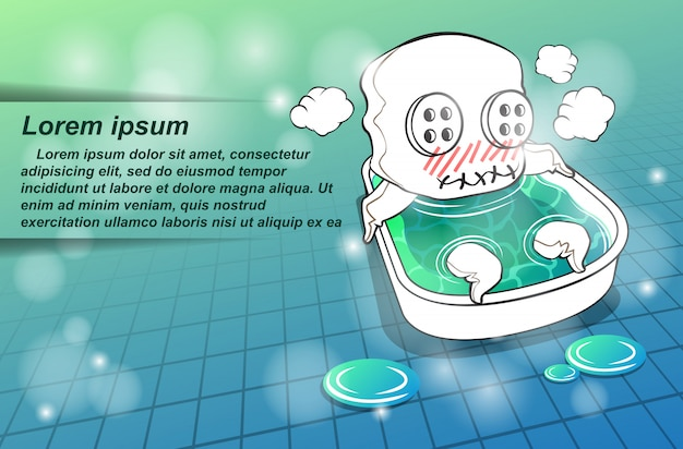 Maskottchen charakter nimmt ein bad. Premium Vektoren