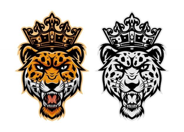 Maskottchen des könig-leopardenkopf-logos Premium Vektoren