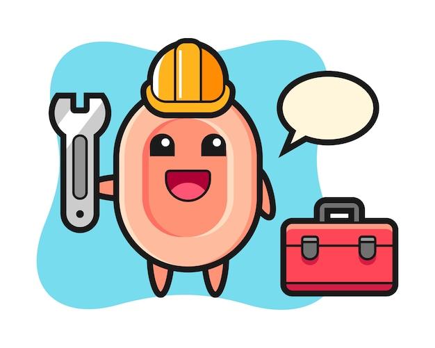 Maskottchen-karikatur der seife als mechaniker, niedlicher stil für t-shirt, aufkleber, logoelement Premium Vektoren