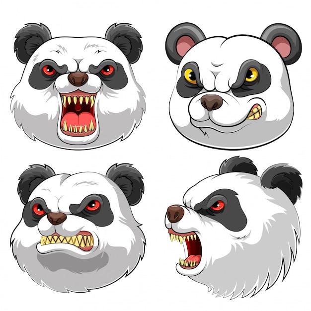Maskottchen kopf eines pandas Premium Vektoren