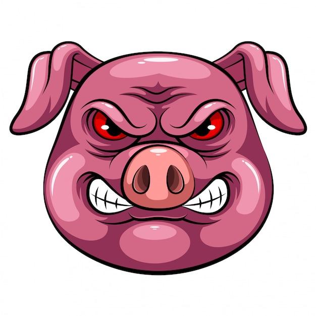 Maskottchen kopf eines schweins Premium Vektoren