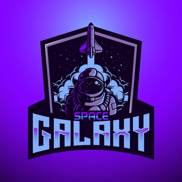 Maskottchen-logo astronaunt space galaxy Premium Vektoren