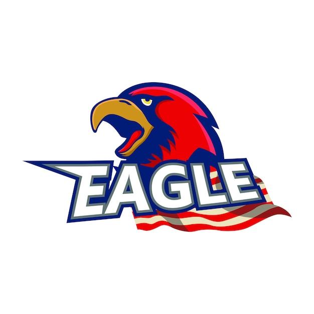 Maskottchen-logo-beispielelement eagles rotes Premium Vektoren