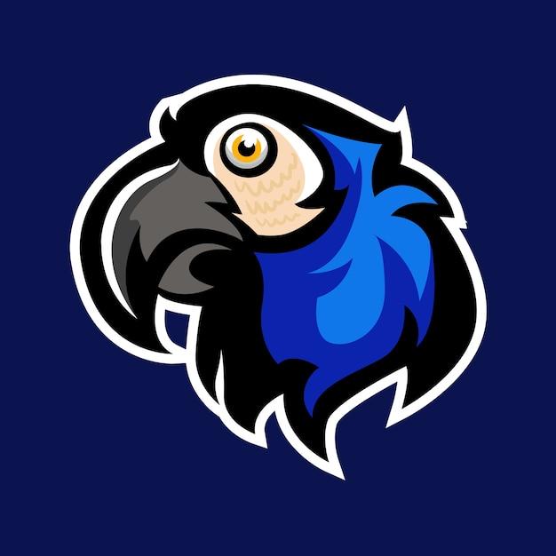 Maskottchen-logo des blauen papageien Premium Vektoren