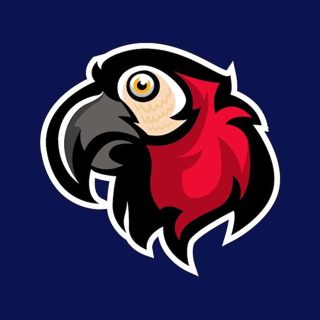 Maskottchen-logo des roten papageien Premium Vektoren