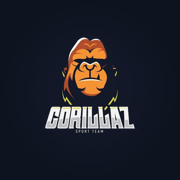 Maskottchen-logo-design mit gorilla Kostenlosen Vektoren