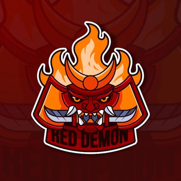 Maskottchen-logo-konzept mit rotem dämon Kostenlosen Vektoren