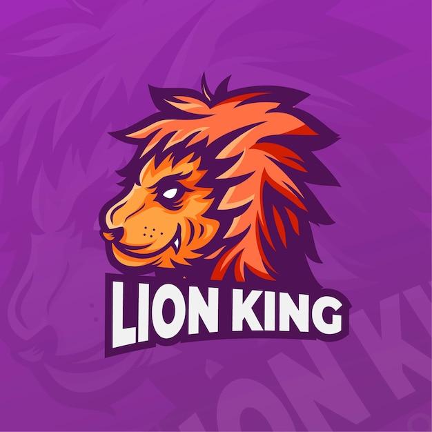 Maskottchen-logo mit könig der löwen Premium Vektoren