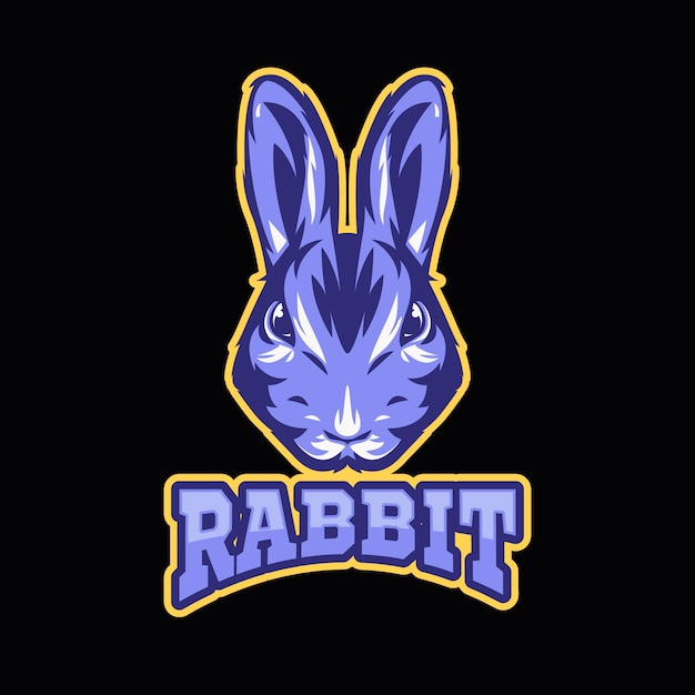 Maskottchen-logo mit mit kaninchen Kostenlosen Vektoren