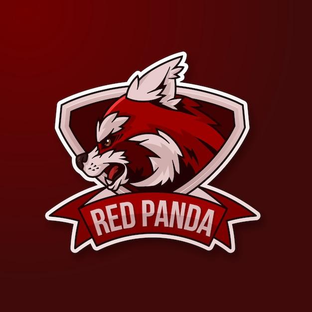 Maskottchen-logo mit rotem panda Kostenlosen Vektoren