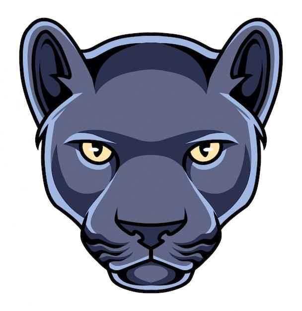 Maskottchen-logo mit schwarzem pantherkopf Premium Vektoren