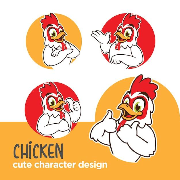 Maskottchen oder aufkleber charakter huhn designs Premium Vektoren