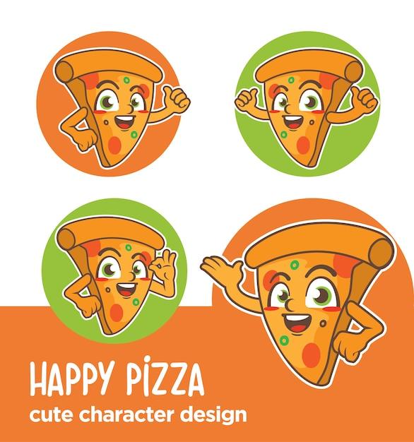 Maskottchen oder aufkleber charakter pizza designs Premium Vektoren
