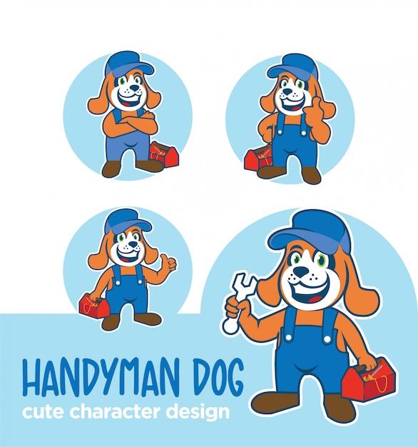 Maskottchen- oder aufklebercharakter-heimwerkerhundedesigns Premium Vektoren