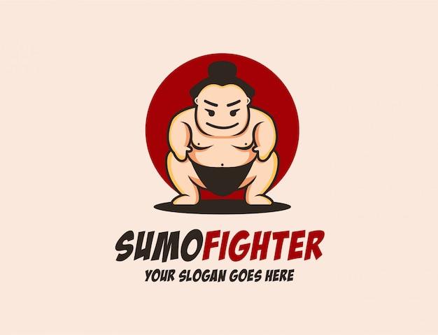 Maskottchen-sumo-logo-vorlage Premium Vektoren
