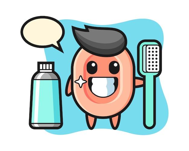 Maskottchenillustration der seife mit einer zahnbürste, niedlicher stil für t-shirt, aufkleber, logoelement Premium Vektoren