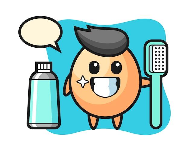 Maskottchenillustration des eies mit einer zahnbürste, niedliches artdesign für t-shirt, aufkleber, logoelement Premium Vektoren