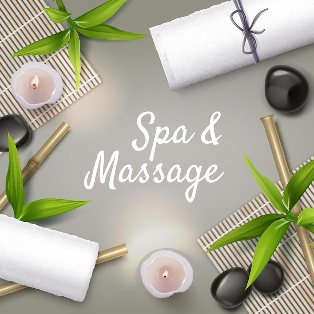 Massage und spa hintergrund. massagesteine, kerzen, handtücher. Premium Vektoren