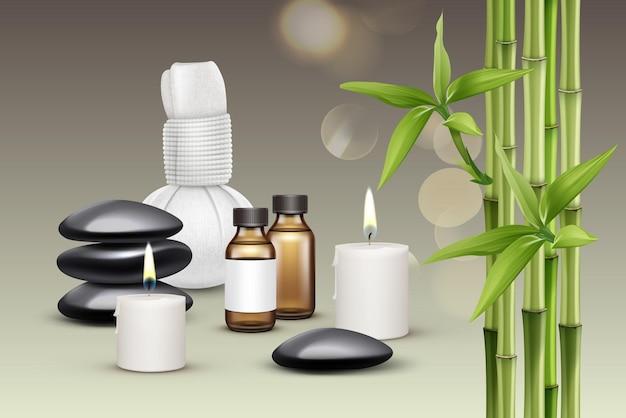 Massagezubehör zusammensetzung. öl, kerzen, steine, kräuterkompresse, aroma, bambus. Premium Vektoren