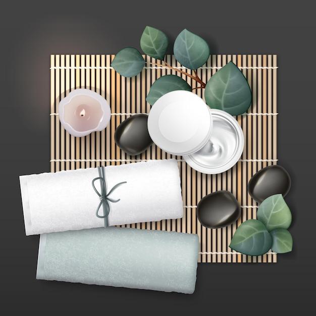 Massagezubehör zusammensetzung. sahne, kerze, steine, handtücher, pflanzen. Premium Vektoren