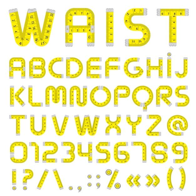 Maßband alphabet Premium Vektoren