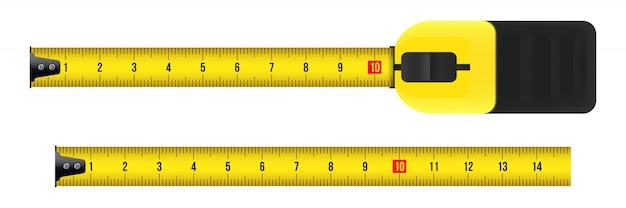Maßband, werkzeug, lineal, meter, roulette. Premium Vektoren