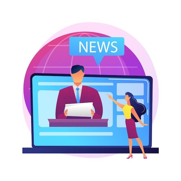 Massenmedien. reporter-zeichentrickfigur. tägliche nachrichten, rundfunk, online-presse, internetjournalismus. social media konzept. korrespondent, journalist. Kostenlosen Vektoren