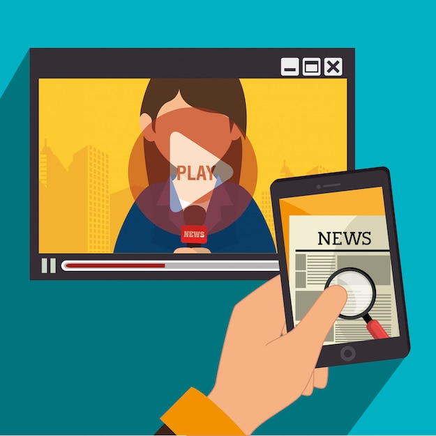 Massenmediennachrichten im fernsehen und auf mobilgeräten Kostenlosen Vektoren