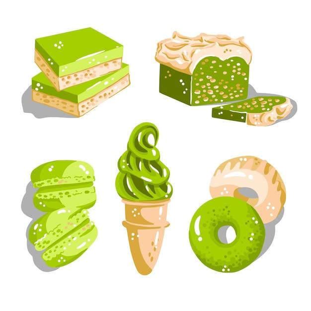 Matcha dessertkollektion Kostenlosen Vektoren