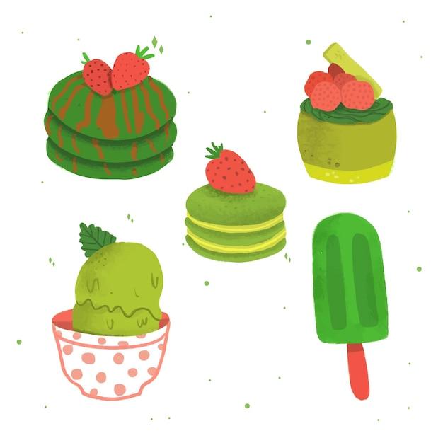 Matcha dessertkollektionskonzept Kostenlosen Vektoren