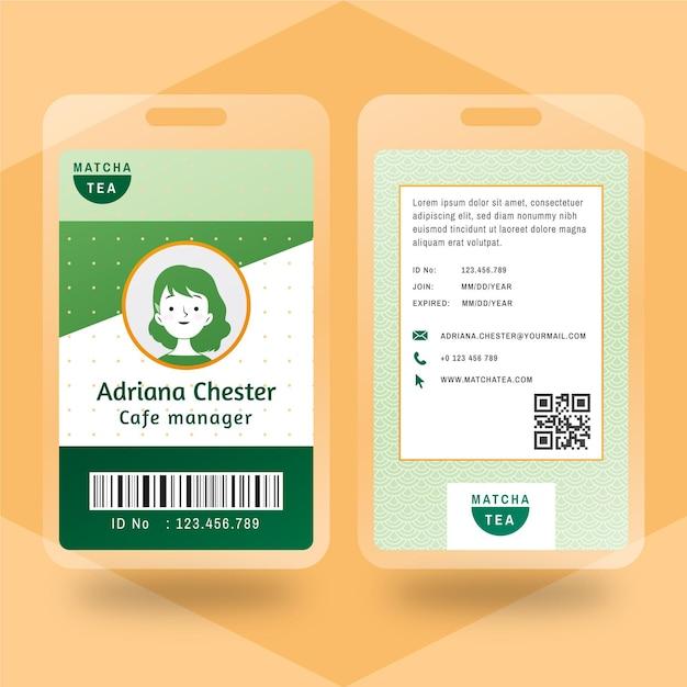 Matcha tee id-karte Kostenlosen Vektoren