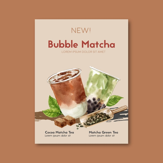 Matcha und brauner zuckerblasenmilch-teesatz, plakatanzeige, fliegerschablone, aquarellillustration Kostenlosen Vektoren