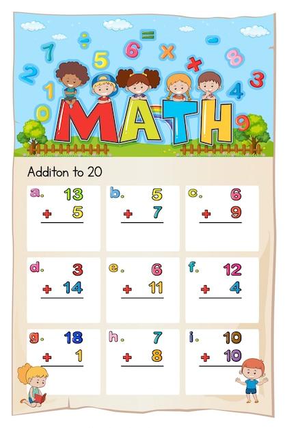 Mathe-Arbeitsblatt für die Addition zu zwanzig | Download der ...