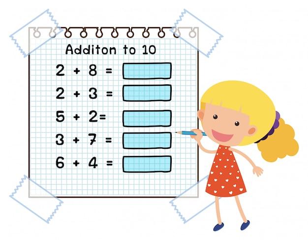 Mathe-Arbeitsblatt für die Ergänzung zu zehn   Download der Premium ...