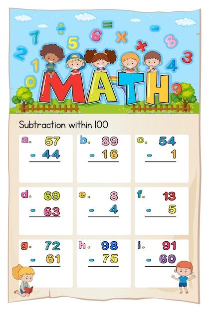 Mathe-Arbeitsblatt für Subtraktion innerhalb von Hundert | Download ...