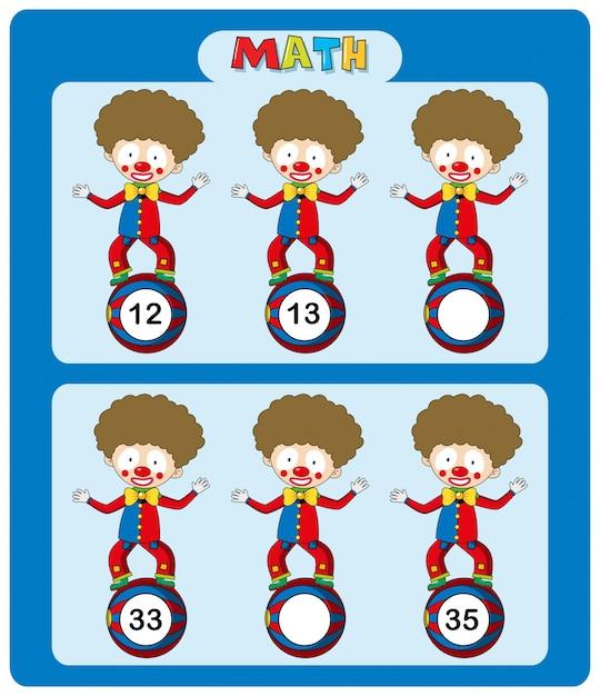 Mathe Arbeitsblatt Vorlage mit Zirkus Clowns | Download der Premium ...
