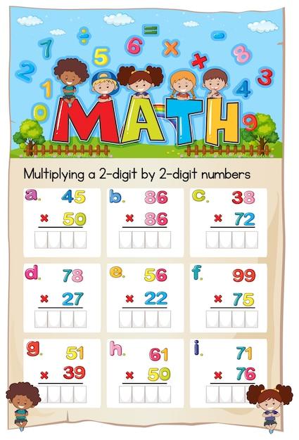 Mathe-Arbeitsblatt zum Multiplizieren von zwei- bis zweistelligen ...