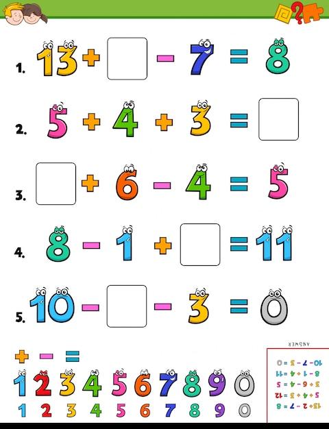 Mathe berechnung lernpuzzle für kinder Premium Vektoren
