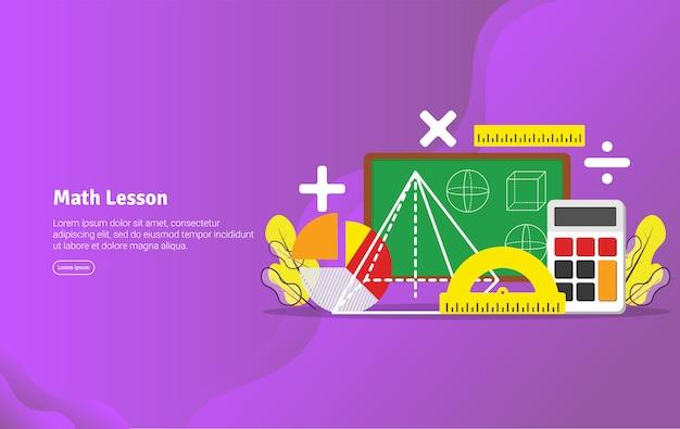Mathe-lektions-konzept-pädagogische illustrations-fahne Premium Vektoren