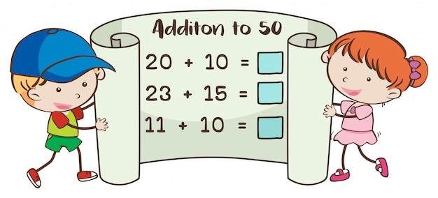 Mathearbeitsblatt zum hinzufügen zu 50 Premium Vektoren