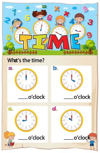 Mathematik Zeit Kapitel Arbeitsblatt | Download der kostenlosen Vektor